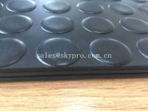 China 3mm Thickness Rubber Dot Custom Floor Mats With Black Round Stud Rubber Coin Pattern on sale