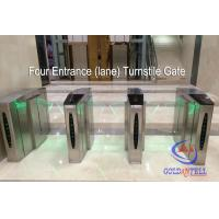 China Double Core Fingerprint Biometric Turnstile Gate , Fast Pass Flap Barrier Turnstile With Software on sale