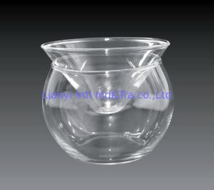 China Kitchen Glass Caviar Server , Round Shaped Caviar Plate Plus Bowl For Ice on sale