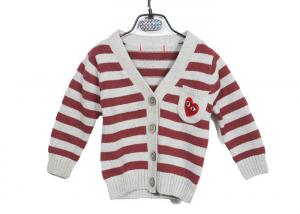 China Red Striped Long Sleeve Kids Knit Sweater Button Cardigan With Embroidery on sale