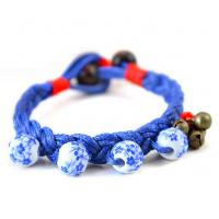 Blue and white beaded jewelry Ethnic Tibetan silver jewelry bracelet woven ceramic jewelry