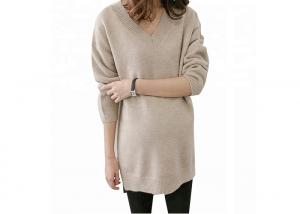 China V Neck Clothes For Pregnant Women , Long Maternity Sweaters Solid Pattern on sale