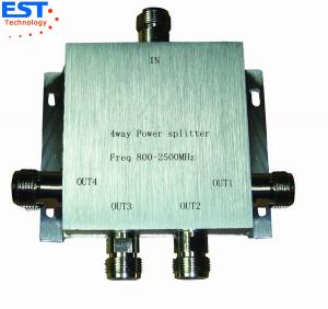 China 4 Way Power Divider / Splitter 140x140x60 Mm , 800-2500MHZ Frequency Range on sale