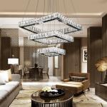 4000k LED Crystal Chrome Modern Pendant Light For Living Room