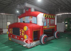 China The blow up fire truck inflatable bouncy castle for kids and adults party time on sale