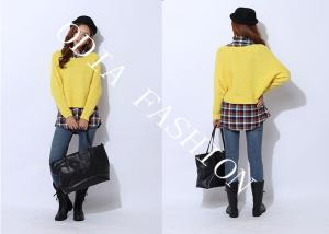 China Fashion Yellow Womens Pullover Sweaters Crew Neck in Bat Sleeve for Adult on sale