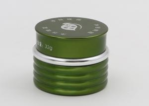 China 30ml Green Glass Cosmetic Jars , Ribbed Body Cosmetic Sample Pots on sale