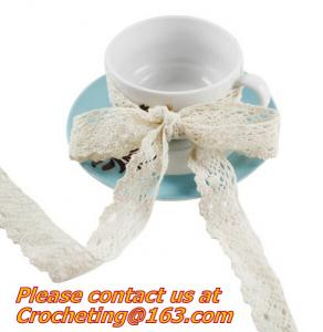 China Long Vintage Cotton White Crochet Scallop Pattern Lace Trim DIY Embroidered Sewing Stretch on sale