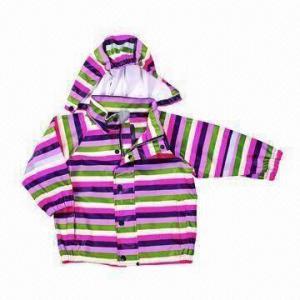 China Children's PU rainwear/raincoat, made of PU fabric, AOP printing and detachable hood on sale