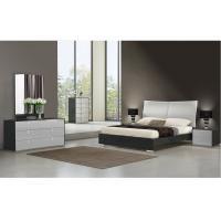 China Grey High Gloss Painting & Black Wood Grain Melamine Bedroom Set on sale