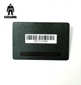China Deboss Text  Blank Metal Business Cards , Black Metallic Business Cards With Bar Code on sale