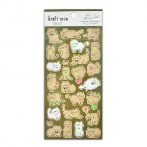 China Japanese Cute Cats Stickers With YelloW Blue Green Fluorescent Size 20*9cm Stationery Decoration on sale