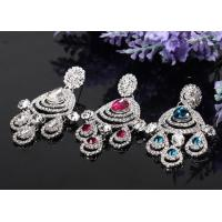 Engagement Dangle Rhinestone Earrings Bridal / Crystal Jewelry with Silver Plating E1307020