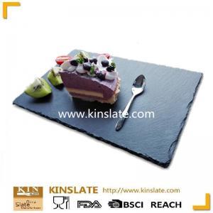 China Wholesale square shape natural black dinner slate plate on sale