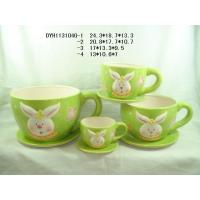 Rabbit Ceramic Flower Pots And Planters Big Cup Shape With Saucer For Easter