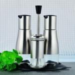 Glass Storange Jar For Oil and vinegar Salt and Spice Bottle Stainless Steel Jar Cruet Set