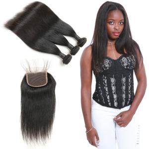 China 9A Pure Indian Human Hair Bundles , 100 Raw Virgin Indian Hair Lace Closure on sale