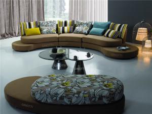 Quality Italian Style Round Modern Fabric Sofas , Round corner sofa supply , Half moon for sale
