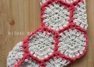 China Hexagon Knitted Christmas Tree Ornaments White And Red Crochet Christmas Stockings on sale