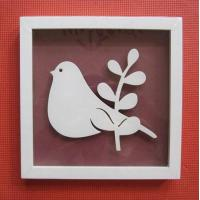 Wooden Photo/Picture frames, carved birds inside, matt white color