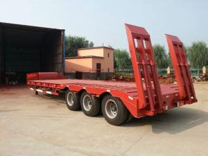 China 80 Ton Recessed Low Bed Trailer , 3 Axle Excavator Transport Low Loader Trailer on sale