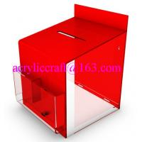 2015 new design clear and red acrylic suggestion box with lock