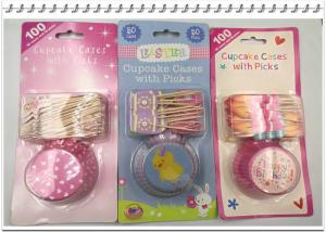 China Cake Baking eco-friendly colorful paper  cupcake cases with picks on sale