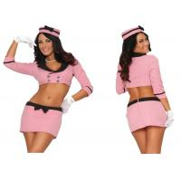Pink Double Breasted Holiday Party Adult Costumes With Hat Top Skirt Gloves