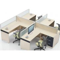 Commercial Office Furniture Partitions For Four People / Wood Computer Desks Office Cabin Partition