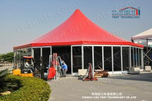 China Aluminum High Peak Multi sides Luxury Wedding Tents With Glass ABS Walls on sale