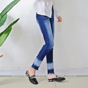 China Stretch Ripped & Split Women Denim Skinny Jeans , Dark Blue Denim Trouser Pants on sale