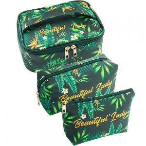 China Girls Green Plant Polyester Makeup Bag Organizer on sale