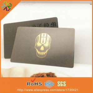 China free design custom logo/words 0.35mm thickness 80*50mm black metal name card on sale