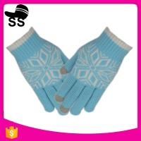 China 2017 New Design Nitrile  Conductive Fiber Materials Jacquard Winter Knit Magic  Touch Screen Gloves Women on sale