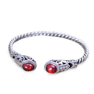 China Sterling Silver Cable Bracelet with Garnet Open Adjustable Cuff Bracelet (XH049954W) on sale