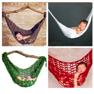 China Crochet Newborn Hammock Photography Props Knitted Newborn Infant Costume Toddler Photo Props 0-3Months on sale