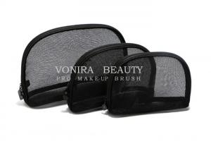 China 3Pcs Travel Cosmetic Case Women Fashion Black Mesh Zipper Makeup Bag Toiletry Storage on sale