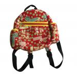 Red zipper neoprene children backpack with one main roomy pocket and a small front pocket,cute animal pattern on outside