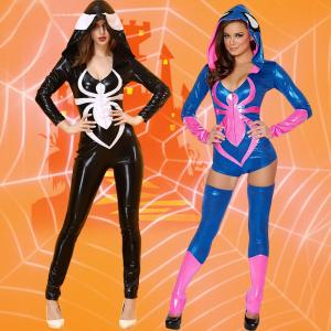 China Spider Women Costume Black Zentai Suit Sexy Costumes Women Halloween 2016 Girl Hoodie Venom Spiderman Jumpsuit on sale