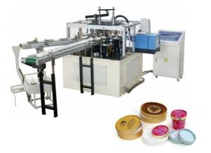 China 6Kw Hot Food Cup / Deli Paper Lid Machine High Efficiency 45 - 50 PCS/min on sale
