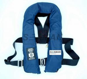 China SOLAS 275N Navy Blue Inflatable Life Jacket Double Air Chamber 60G Cylinder With Harness D Ring on sale