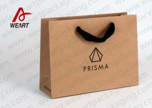 China Brown Kraft Personalised Paper Bags Biodegradable Flat Rope Handle and Black Foil LOGO on sale