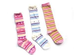 China High sweat absorption attractive designs Girl cotton stripe knee high socks on sale