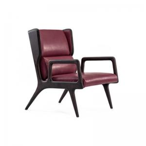 China Red Modern Leather Accent Chairs / Upholstered Walnut Wooden Lounge Chair on sale