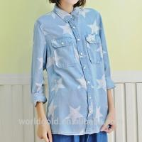 China Women Casual Long Sleeve Washed T Shirt With Snap Button & Star Print on sale