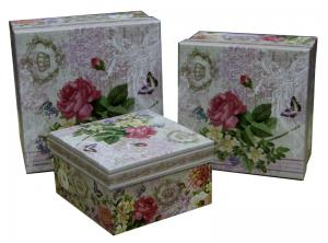 China Square Keepsake Gift Boxes Bottom Paper Cardboard Flower Pattern on sale