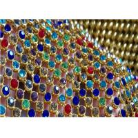 China Crystal Sequin Mesh Fabric / Fine Metal Mesh Fabric For Interior Decoration on sale