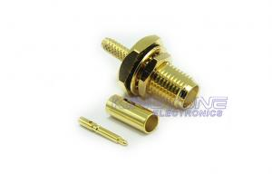 China Gold SMA Male Female Coaxial Connectors Bulkhead Crimp Style with Reverse Polarity Plug on sale