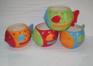 China Colorful Ceramic Garden Planters Stoneware Fish Shaped Flower Pot For Household on sale