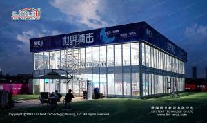 China 25x50m Aluminum Structure Black PVC Double Decker Tent For Exhibition on sale